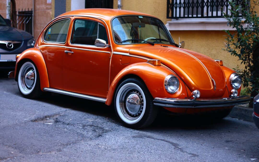rød klassisk bil