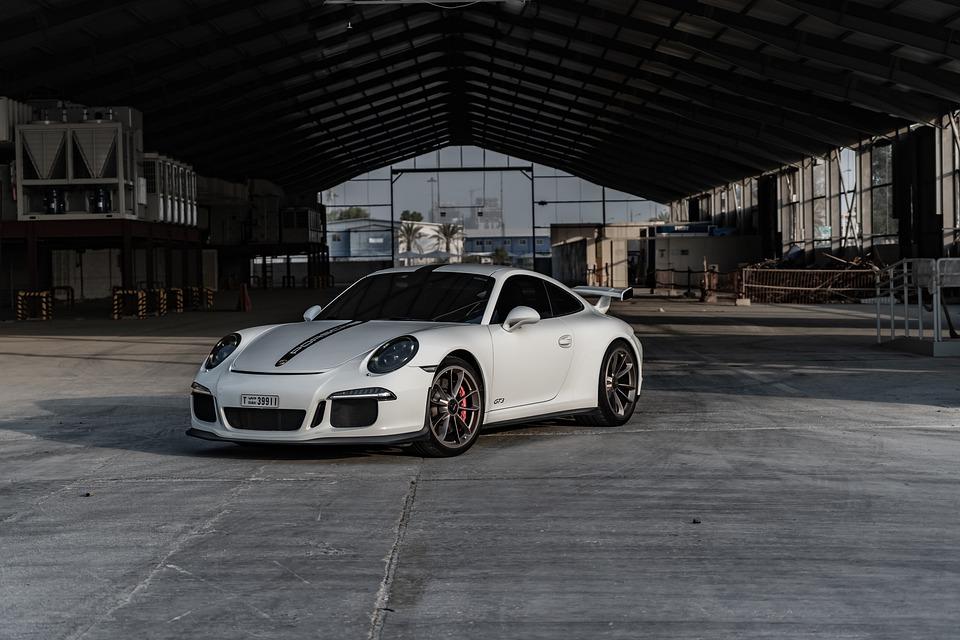 bil, hvid, porsche, køretøj, hurtigt